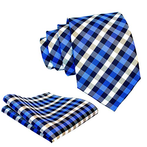 (Gingham Plaid Ties for Men - Woven Necktie & Pocket Square - Navy Blue and Royal Blue)