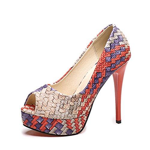 KHSKX-Fisch Auf High Heels Schlanken Fuß Wasserdicht Tabelle Schuhe Sexy Abend Einzelne Schuhe Schuhe gules