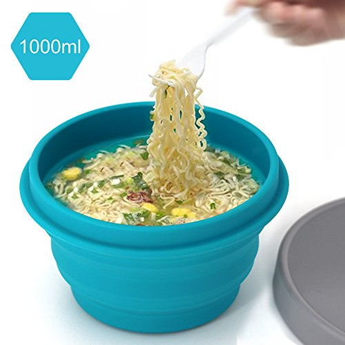 LAOPAO Collapsible Silicone Bowl with Lid 1000ML for Outdoor Camping, Travel, Hiking and Indoor Home Kitchen, Office, School Student, Food-Grade, Space-Saving ()