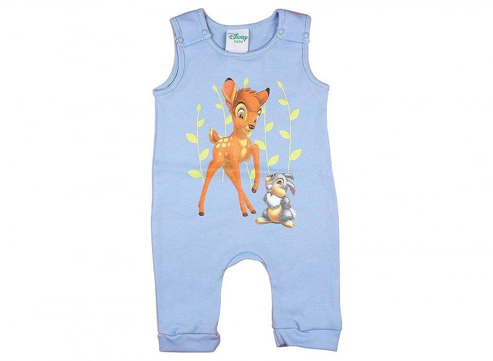 Disney - Bambi Jungen BABY-STRAMPLER, mit Klopfer in GRÖSSE 50, 56, 62, 68, 74, Baby-Schlafanzug ÄRMEL-LOS mit Druck-Knöpfen, WANZI, Spiel-Anzug für Neugeborene, SUPER SÜSS SUPER SÜSS