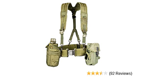 5dc6d535787 Amazon.com   Military Outdoor Clothing Previously Issued US GI OD Green  Canteen Set with Suspenders   Sports   Outdoors