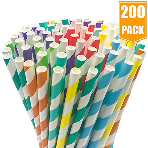 200-Pack Biodegradable Paper Straws - 8 Different Colors Rainbow Stripe Paper Drinking Straws - Bulk Paper Straws for Juices, Shakes, Smoothies, Party Supplies Decorations