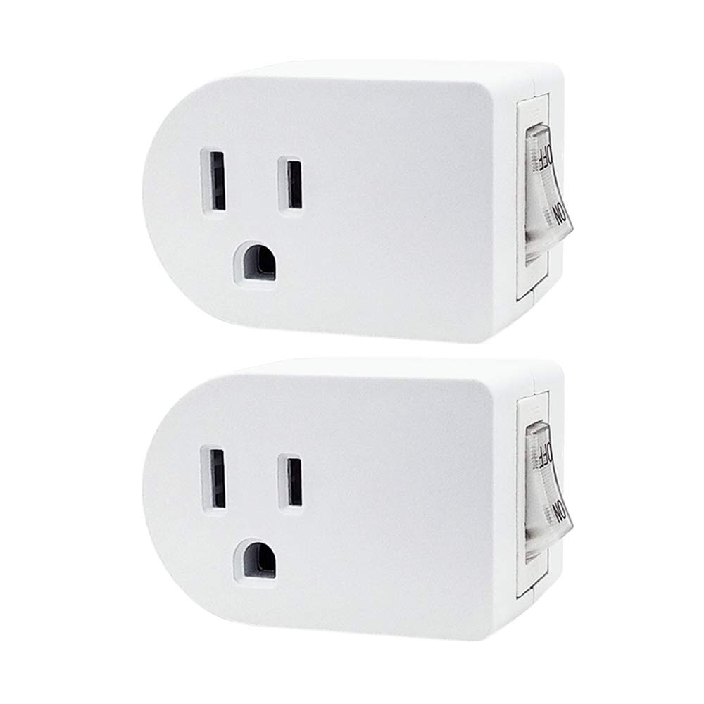 Uninex (2 Pack) Single Grounded Outlet On/Off Power Switch with Amber Light ETL White