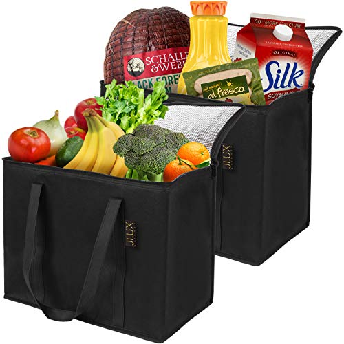 Insulated Reusable Grocery Bags by JLuxKitchen - Stands Upright and Foldable - Reinforced Handle - Durable and Waterproof Shopping Bags - Sturdy Zipper - Extra Large Collapsible Reusable Bags - 2 Pack