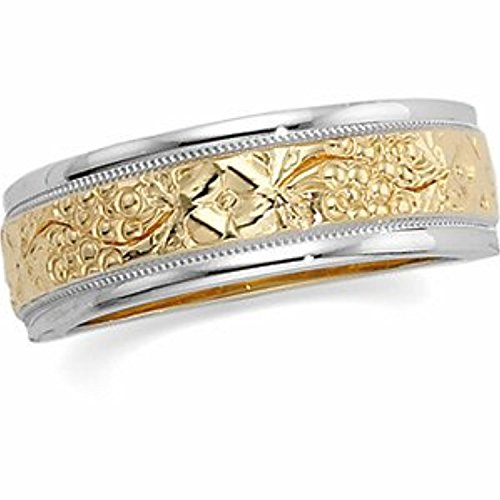 14K White Yellow Gold Two Tone Bridal Tapered Duo, Size: 7