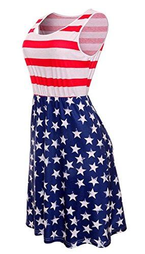 Femmes Domple Mini Swing Ras Du Cou Sans Manches Imprimé Drapeau Américain Occasionnels Robe 2
