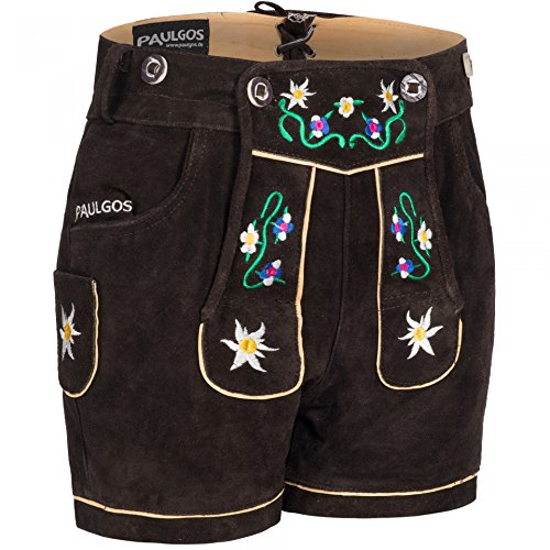 PAULGOS Damen Trachten Lederhose + Träger Echtes Leder Kurz Dunkelbraun M1, Größe Lederhose:44