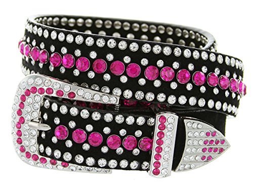 (Hagora Women Colorful Zirconia & Silver Studs 40''-50'' Long Metal Buckle Belt,Pink XX-Large)