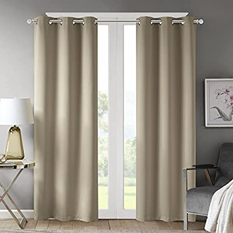 Comfort Spaces - Windsor Solid Taupe Thermal Insulated Window Curtain Pair / Set of 2 Panels - 42x63 inch panel - Blackout Room Darkening - Grommet Top - 2 (Eclipse 42x63)