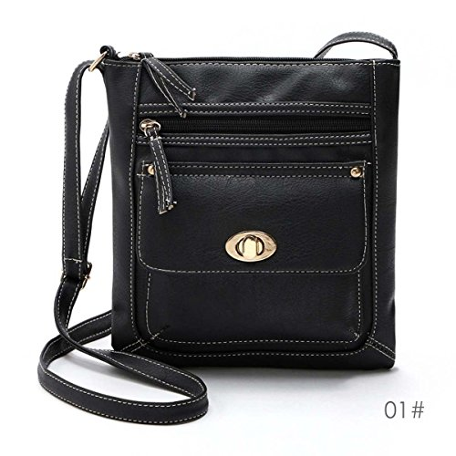 Women Lady PU Leather Handbag Shoulder Bag Tote Purse Messenger Hobo Satchel Bag, With two zipper compartments and one magnetic twist button closure pocket (Black} Escada Leather