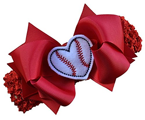 Baseball Bow Headband with Felt Embroidered Heart and 4.5 Inch Bow By Funny Girl Designs - Red (1.5