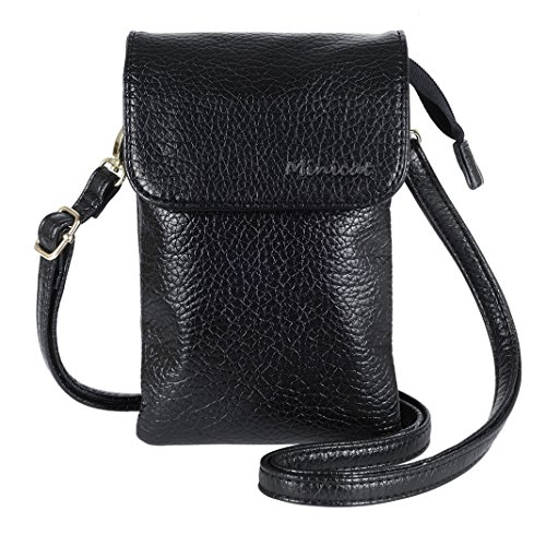 MINICAT Roomy Pockets Series Small Crossbody Cell Phone Purse Wallet Bag With Magnetic Button(Black) (Iphone Purse Crossbody)