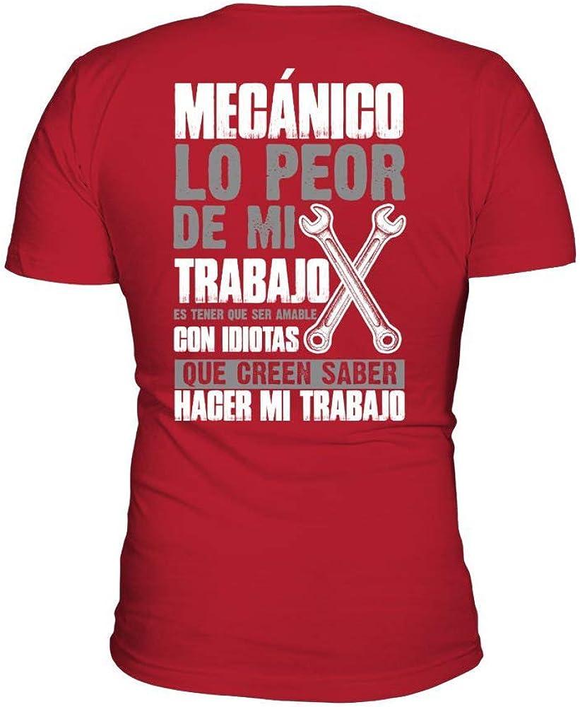 TEEZILY Camiseta de Pico Hombre 1708tbn-MECANICO - Rojo - L: Amazon.es: Ropa y accesorios
