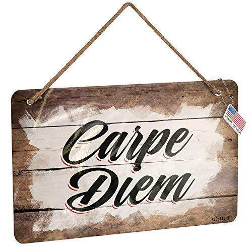 NEONBLOND Metal Sign Vintage Lettering Carpe Diem Christmas Wood Print