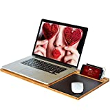 "Lap Desk - Lap Tray Stand, Student LapDesk - Bamboo Slate/Board for 11""-13""-15"" Laptop and Ipad Tablet with Cooling and Mouse Pad"