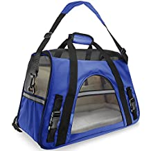 OxGord Airline Approved Pet Carriers w/ Fleece Bed For Dog & Cat - Medium, Soft Sided Kennel - 2017 Newly Designed Model, Sapphire Blue