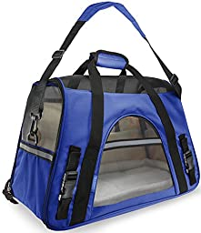 OxGord Airline Approved Pet Carriers w/ Fleece Bed For Dog & Cat - Large, Soft Sided Kennel - 2016 Newly Designed Model, Sapphire Blue