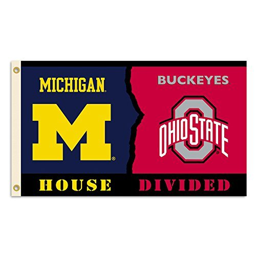 NCAA Michigan Wolverines 3 X 5 Foot Rivalry House Divided Flag with Grommets, Navy & Red, from BSI