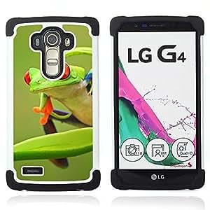 For LG G4 H815 H810 F500L - frog green orange tropical summer Dual Layer caso de Shell HUELGA Impacto pata de cabra con im??genes gr??ficas Steam - Funny Shop -