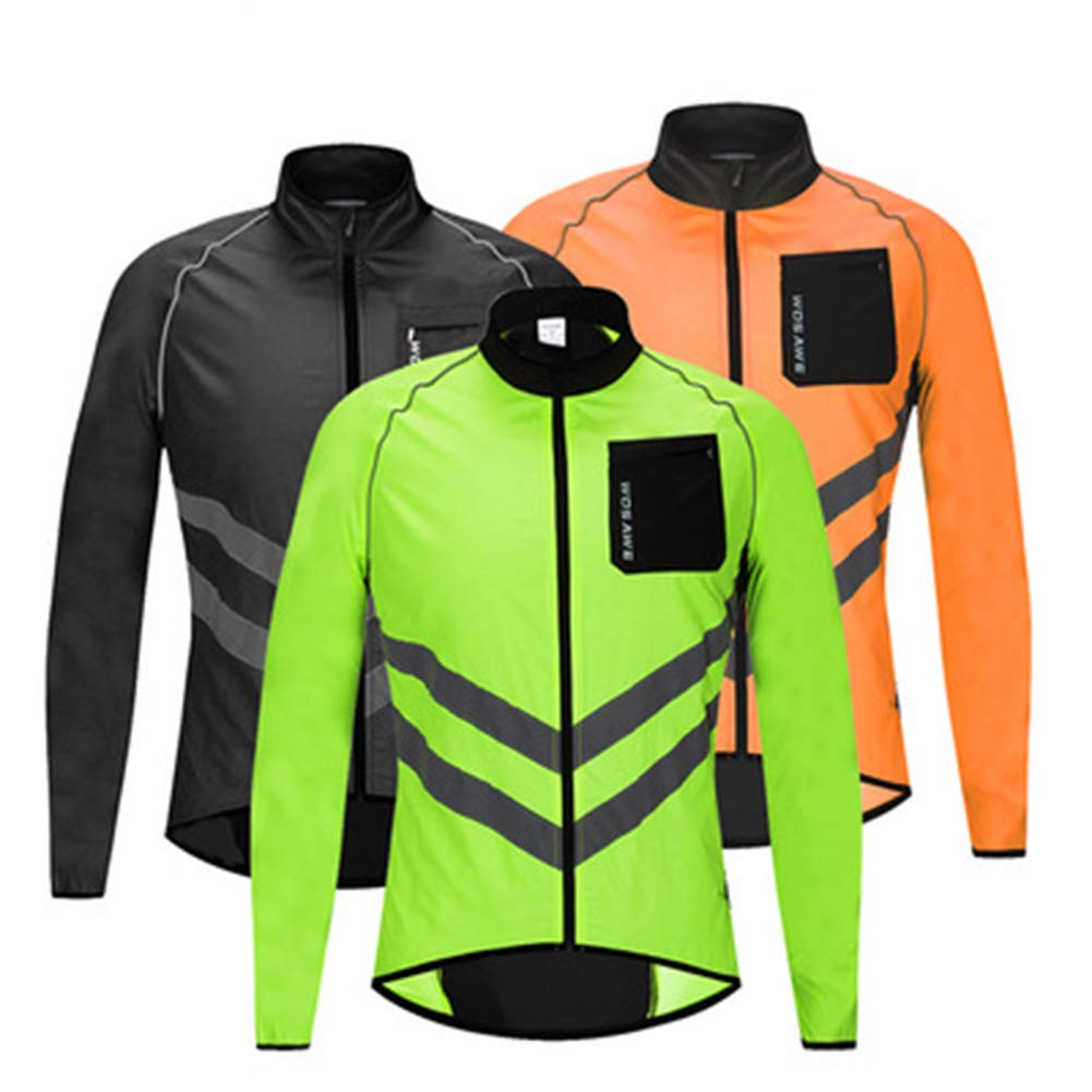 orange XXL LongSleeved Jersey, Windproof, Waterproof, Lightweight and Comfortable for Night Riding and Road Racing