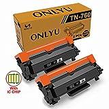 ONLYU TN760 Black High Yield Toner Cartridge with Chip (2-Pack) for Brother MFC-L2730DW DCP-L2550DW MFC-L2750DW TN730 TN-730 (Black)