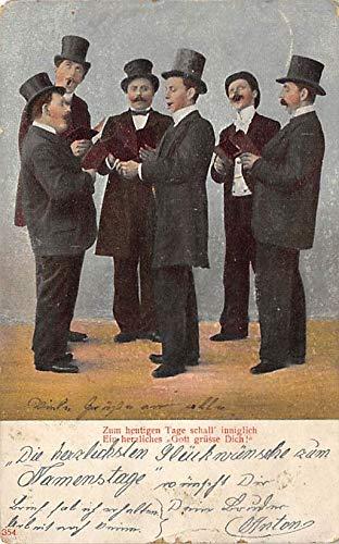 Singing Men (Men singing from books Postcard PU Unknown)
