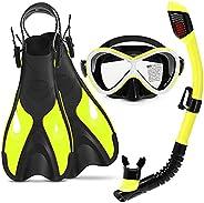 Kids Snorkel Set, Mask Fin Snorkel Packages Dry Snorkel, Anti-Fog Tempered Glass Lens, Adjustable Fins, Snorke