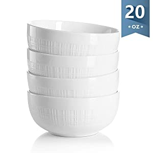 Sweese 1114 Porcelain Bowls - 20 Ounce for Cereal/Soup, Plaid Pattern - Set of 4, White