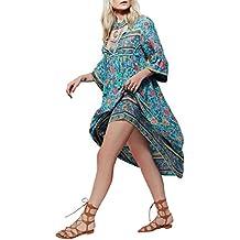 CA Mode Women Boho Folk Flower Gypsy Ethnic Beach Mid-calf Prom Party Tea Dress
