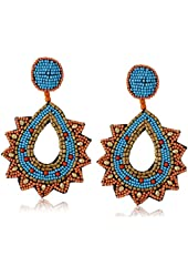 Kenneth Jay Lane Gold, Faux-Turquoise Coral Beaded Top and Post Drop Earrings