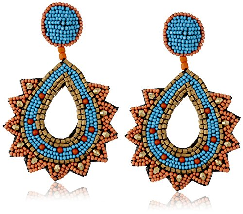 Kenneth Jay Lane Gold, Faux-Turquoise Coral Beaded Top and Post Drop Earrings - Kenneth Lane Faux Earrings