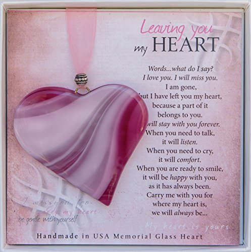Leaving You My Heart Poem Boxed Bereavement Memorial Glass Heart Ornament, Pink -