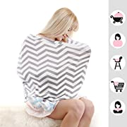 Baby Car Seat Covers,Infant Car Seat Canopy,Nursing Covers,Stretchy Breathable 360 Coverage,Unisex Black and White Stripe