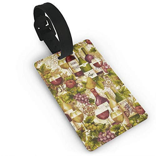 - ABLnewitemFrameFF Luggage Tags Vineyard Collection Wine Bottles Merlot - Travel ID Labels Tag for Baggage Suitcases Bags Size 2.2 X 3.7 inches