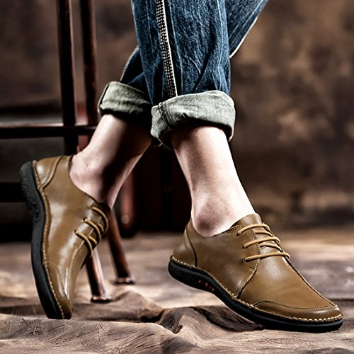 Minitoo Boys Mens Oxfords-Style Rubber Sole Fashion Sneaker Khaki