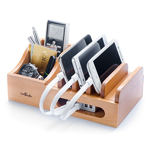 Wood Multi Device Organizer for using with Multiple USB Charging Station like Anker, RAVPower, Poweradd USB chargers for Smartphones and Tablets from UATech (white)
