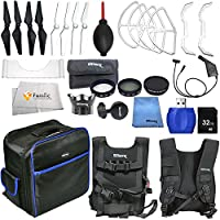 Accessory kit for DJI Phantom 4 includes Small Backpack + 2 Pairs of Carbon Fiber Propellers + 2 Pairs of White Propeller Blades + 32GB SD Memory Card + High Speed Card Reader & More!