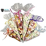 100 Cone Sweet Bags Large Size - Cello Party Candy Display - Clear Cellophane - Kids Childrens Birthday Wedding Favours Food Safe 18cm x 37cm by wecansourceitltd