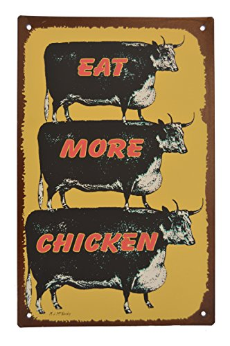 Cow Country Tin Signs (Eat More Chicken) (Funny Chicken Sign compare prices)