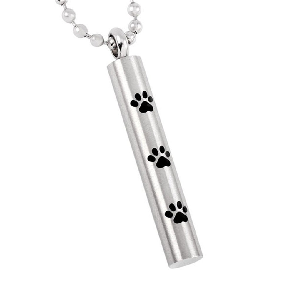 Loss Of Pet Memorial Locket Hold Dog Paw Cylinder Cremation Urn Pendant Necklace For Ashes Keepsake