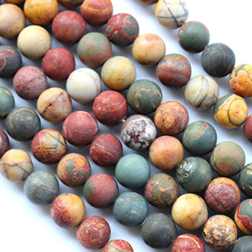 Natural Frosted Unpolished Genuine Picasso Jasper Round Gemstone Jewelry Making Loose Beads (Colorful 8mm) Picasso Jasper Natural Stone