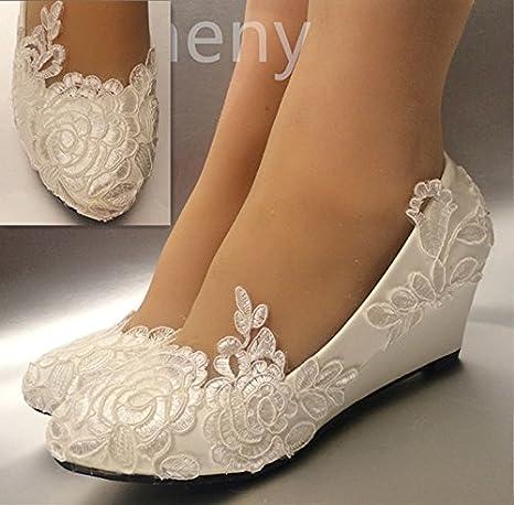 Jingxinstore White Lace Wedding Shoes 5 Cm Low Wedges Bridal Size