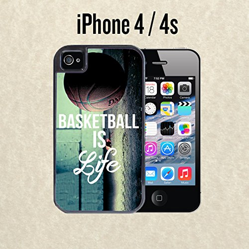 iPhone Case Basketball Baller Life Quote for iPhone 4 / 4s Black 2 in 1 Heavy Duty (Ships from CA) With Free .33 mm Premium Tempered Glass Screen Protector (Basketball Iphone 4s Case Quotes)