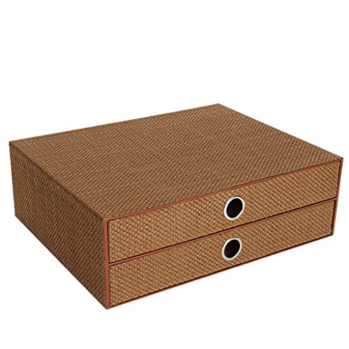 (LITING Storage Cabinet Office File Drawer Type Desktop Woven Paper Multi-Layer Bookcase Finishing Desk Rack (Color : Brown))