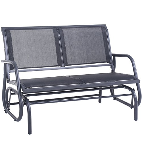SUPERJARE Outdoor Swing Glider Chair, Patio Bench for 2 Person, Garden Loveseat, Rocking Seating - Gray - Glider Outdoor Bench
