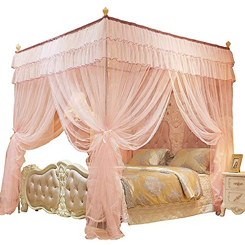 JQWUPUP Princess Bed Curtains Canopy, Double Ruffle 4 Corner Post Mosquito Net, Bed Canopy for Girls Kids Toddlers Crib Adult, Bedding Décor (Queen, Peach)