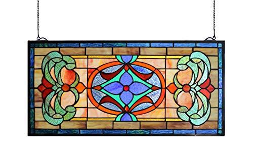 (Yogoart Extra Large Horizontal Transom Window Stained Glass Window Panels Hanging 26