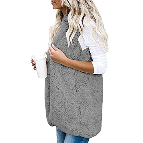 Keep Hooded Womens Sherpa Coat Warm Warm Waistcoat Fashion Cardigan Casual Jacket Winter Solid Faux Sleeveless Jacket Gray Ladies Anglewolf Vest Fur Outwear Thick SwUd8q8