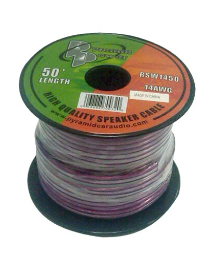 50ft 14 Gauge Speaker Wire - Copper Cable in Spool for Connecting Audio Stereo to Amplifier, Surround Sound System, TV Home Theater and Car Stereo - Pyramid -
