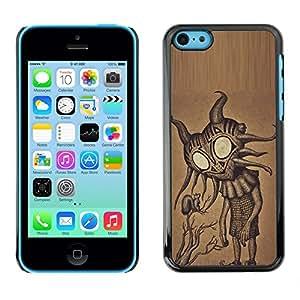 Caucho caso de Shell duro de la cubierta de accesorios de protección BY RAYDREAMMM - Apple iPhone 5C - Cute Friendly Big Eyes Alien Art